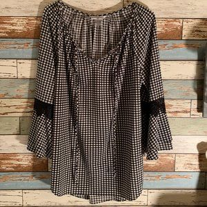 NYGARD Gingham Tie-Front Lace Bell Slv Blouse Sz S